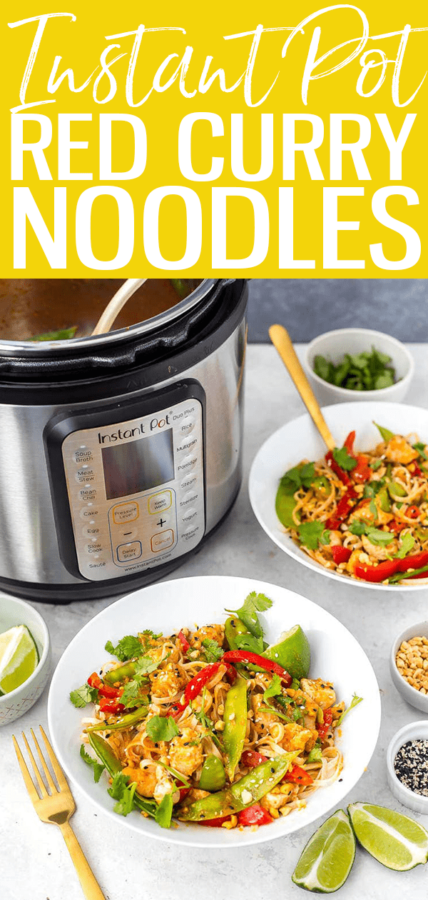 These Instant Pot Red Curry Chicken Noodles come together in less than 30 minutes - you'll love this Thai-inspired meal idea! #instantpot #redcurry