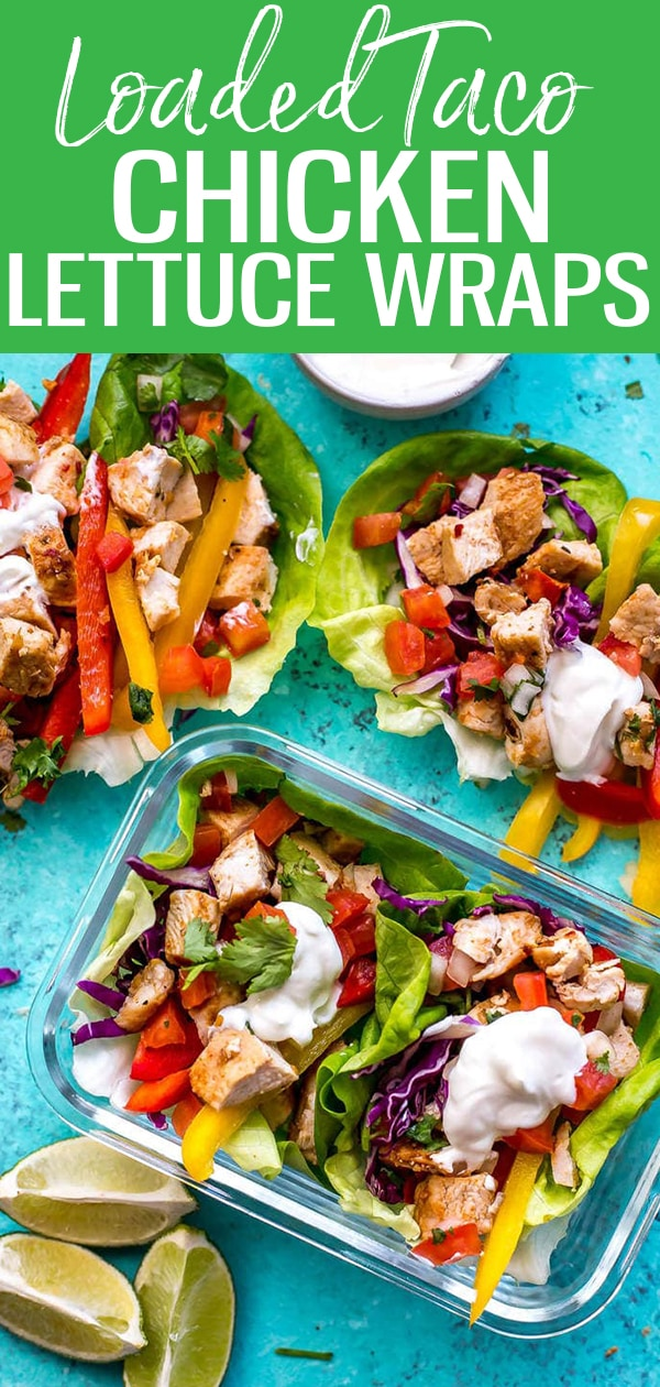 These Low Carb Mexican-inspired Chicken Lettuce Wraps make the perfect 30 minute healthy dinner idea, and the chicken works well for meal prep! #lowcarb #lettucewraps