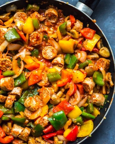 Meal Prep Sausage Peppers and Onions Skillet