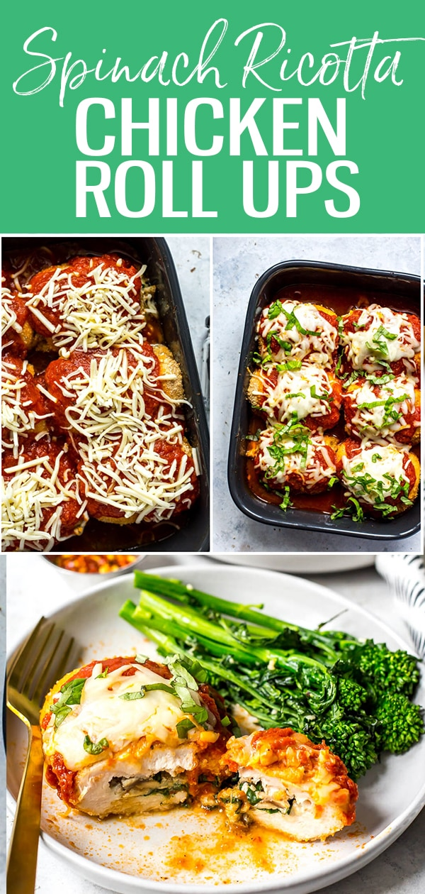 These Easy Spinach Stuffed Chicken Roll Ups are filled with ricotta, mushrooms, sundried tomatoes and mozzarella cheese, then topped with breadcrumbs and marinara sauce - they are the perfect chicken dinner! #chickenrollups #stuffedchicken