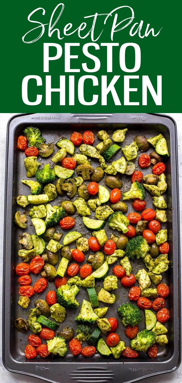 These Sheet Pan Pesto Chicken Meal Prep Bowls are a delicious way to enjoy your veggies and basil pesto, and they're a low carb lunch idea that comes together in 30 minutes! #sheetpan #pestochicken