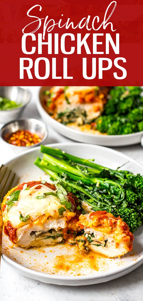 Say hello to one of the most delicious baked stuffed chicken breast recipes! These Easy Spinach Stuffed Chicken Roll Ups are filled with ricotta, mushrooms, sundried tomatoes and mozzarella cheese, then topped with breadcrumbs and marinara sauce - they are the perfect chicken dinner! #chickenrollups #stuffedchicken
