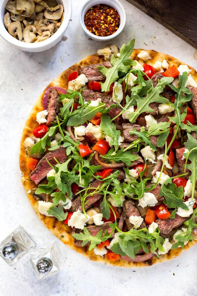 Easy Steak Gorgonzola Flatbread