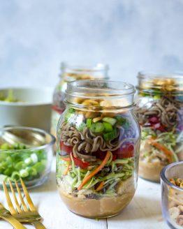 Thai Chicken Soba Noodle Salad Jars
