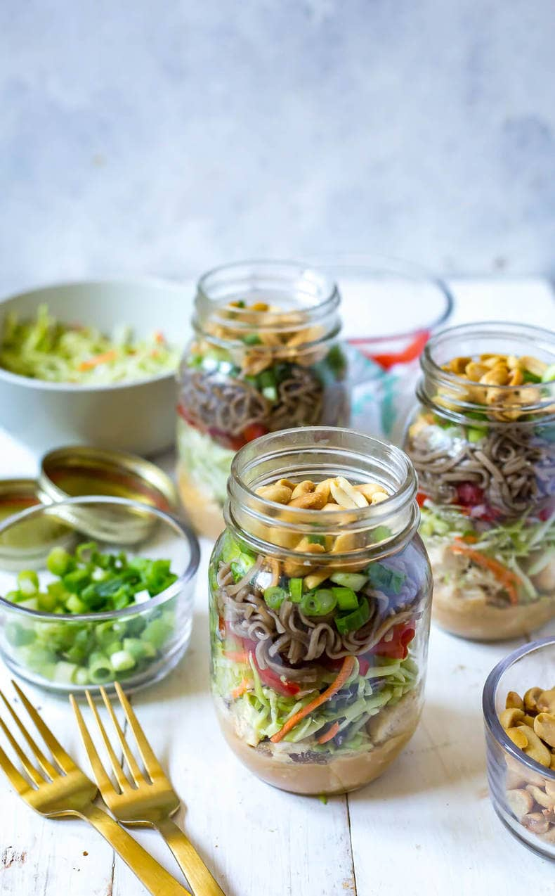 Thai Chicken Soba Noodle Salad Jars