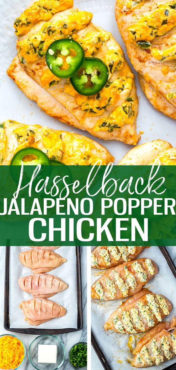 This Hasselback Jalapeno Popper Chicken is a delicious and creative stuffed chicken breast recipe - all you need is a bit of light cream cheese, cheddar and some fresh chopped and de-seeded jalapeno peppers! #jalapenopopper #hasselbackchicken