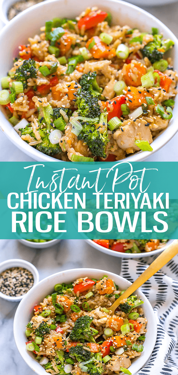 These Instant Pot Teriyaki Chicken Bowls with rice, broccoli and a 5-ingredient stir fry sauce make for a delicious meal prep idea - just dump everything into one pot and dinner is ready in 30 minutes! #instantpot #chickenteriyaki