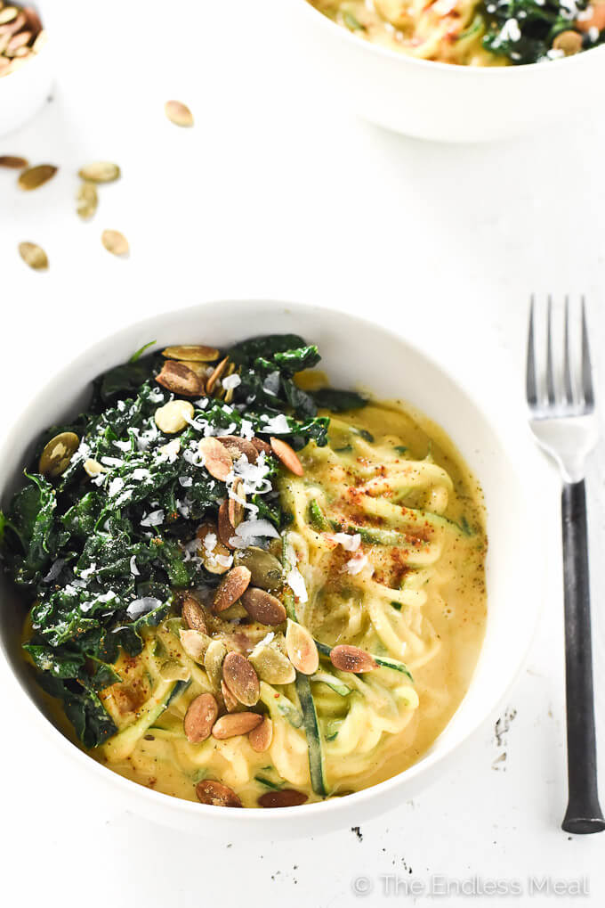 healthy pumpkin alfredo with wilted kale