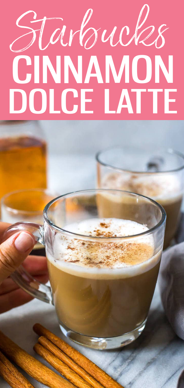 This Homemade Cinnamon Dolce Latte is just like your fave espresso-based drink from Starbucks – this coffee recipe is so perfect for fall! #cinnamondolcelatte #starbuckscopycat