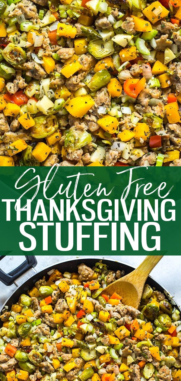 This Thanksgiving Paleo Gluten Free Stuffing is a delicious healthy alternative to most traditional dressings and stuffings - it's made with a ton of veggies and it's still packed with fall flavours thanks to the sage and rosemary! #thanksgivingstuffing #paleostuffing #healthythanksgiving #fallrecipes