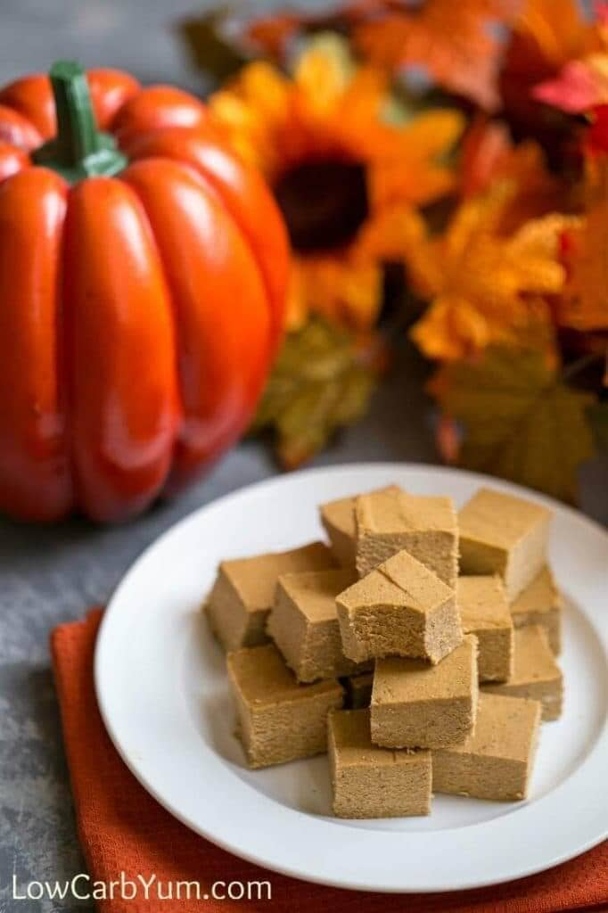 pumpkin paleo fudge on a white plate
