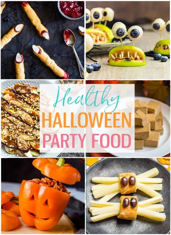 Healthy Halloween Party Food photo collage