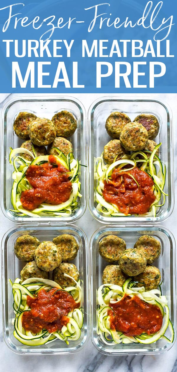These Baked Turkey Meatballs are an awesome freezer-friendly recipe! Include them in low carb meal prep bowls with zoodles & tomato sauce for healthy lunches all week long!
