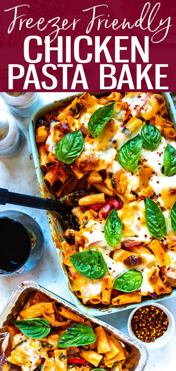 This Chicken Pasta Bake is a freezer-friendly comfort food recipe made with rigatoni, red peppers, onions and spinach in a light rose sauce topped with lots of mozzarella cheese!