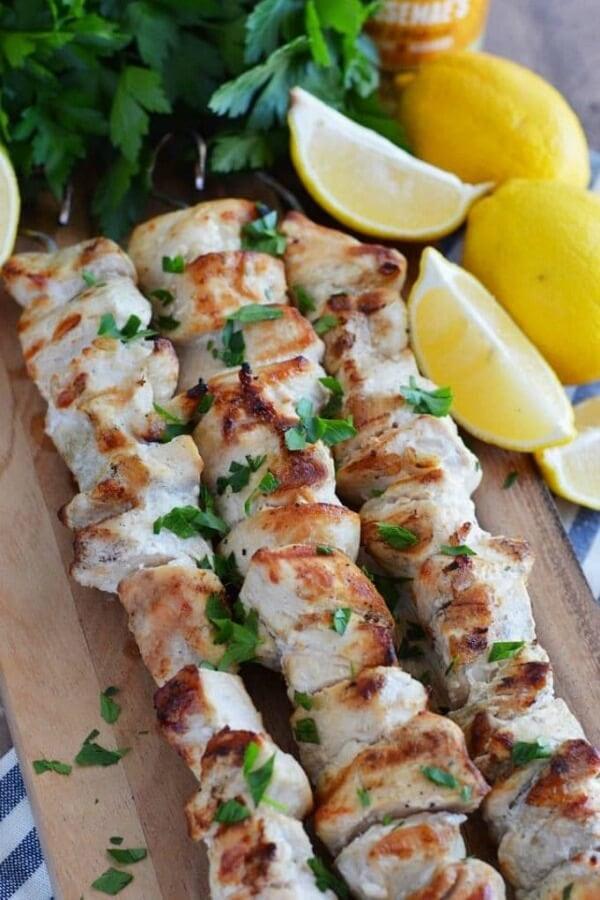 3 Ingredient lemon garlic chicken skewers