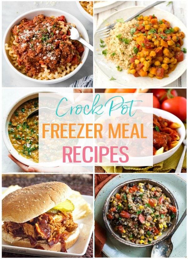photo collage of crock pot freezer meals