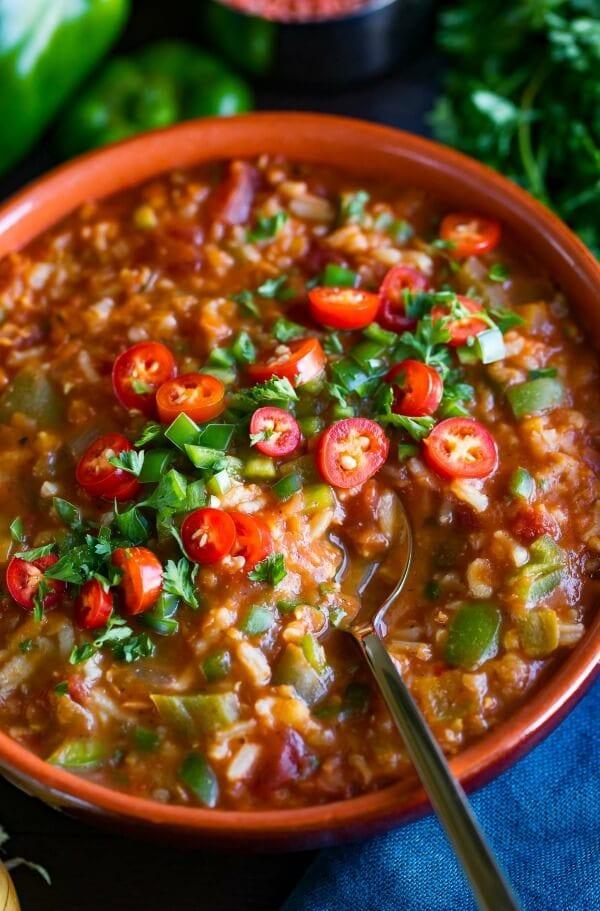 vegetarian stuffed peppers soup