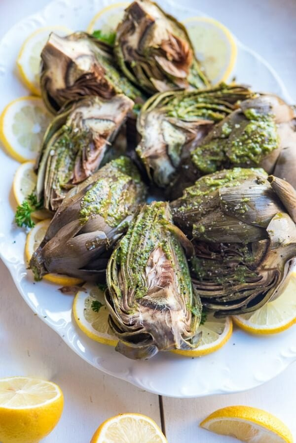 Chimichurri Roasted Artichokes