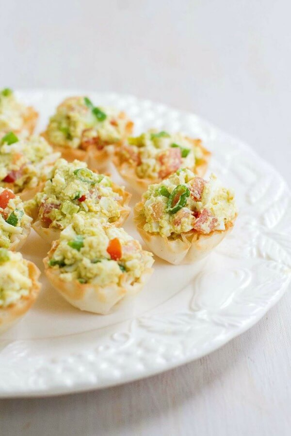 Curried Avocado Egg Salad Phyllo Bites