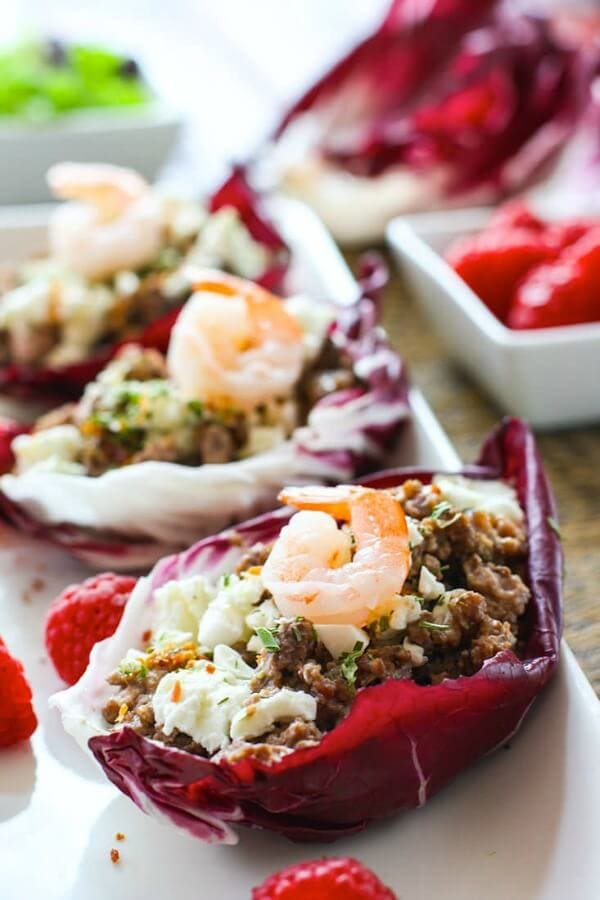 Slow Cooker Raspberry Pork Stuffed Radicchio Cups