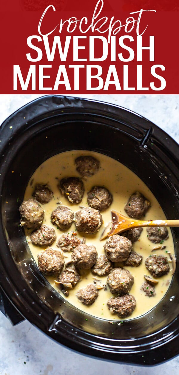 These Crockpot Swedish Meatballs are made lighter using half the heavy cream and extra-lean ground beef meatballs made from scratch. Serve with a side of egg noodles and broccoli for a full meal! #crockpot #slowcooker #swedishmeatballs