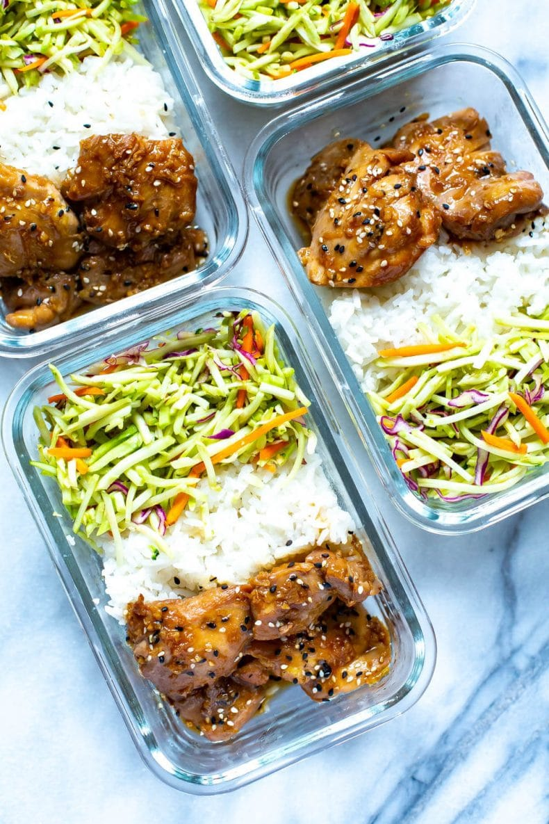 Garlic Sesame Instant Pot Chicken Thighs in meal prep containers