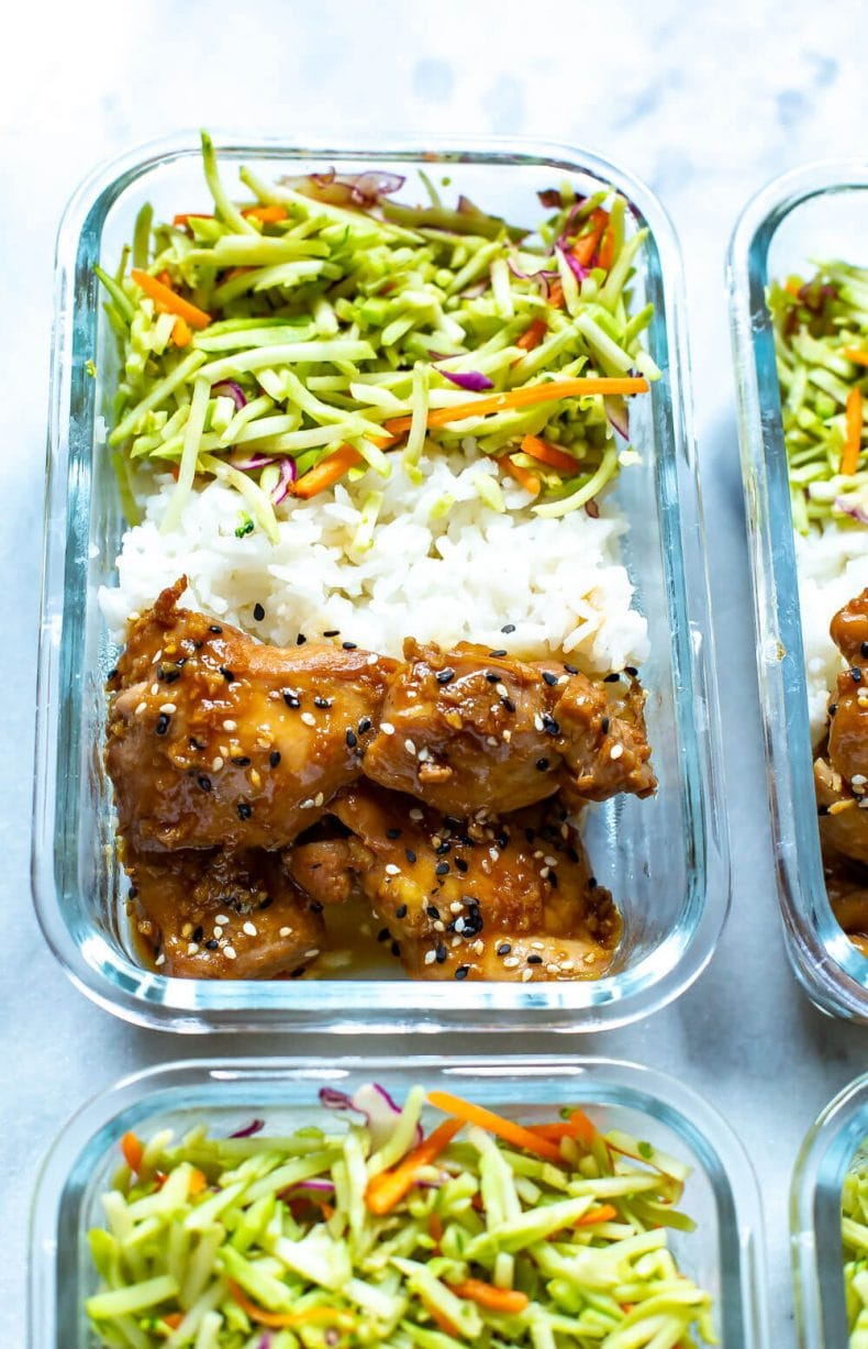meal prep container with garlic sesame chicken dinner