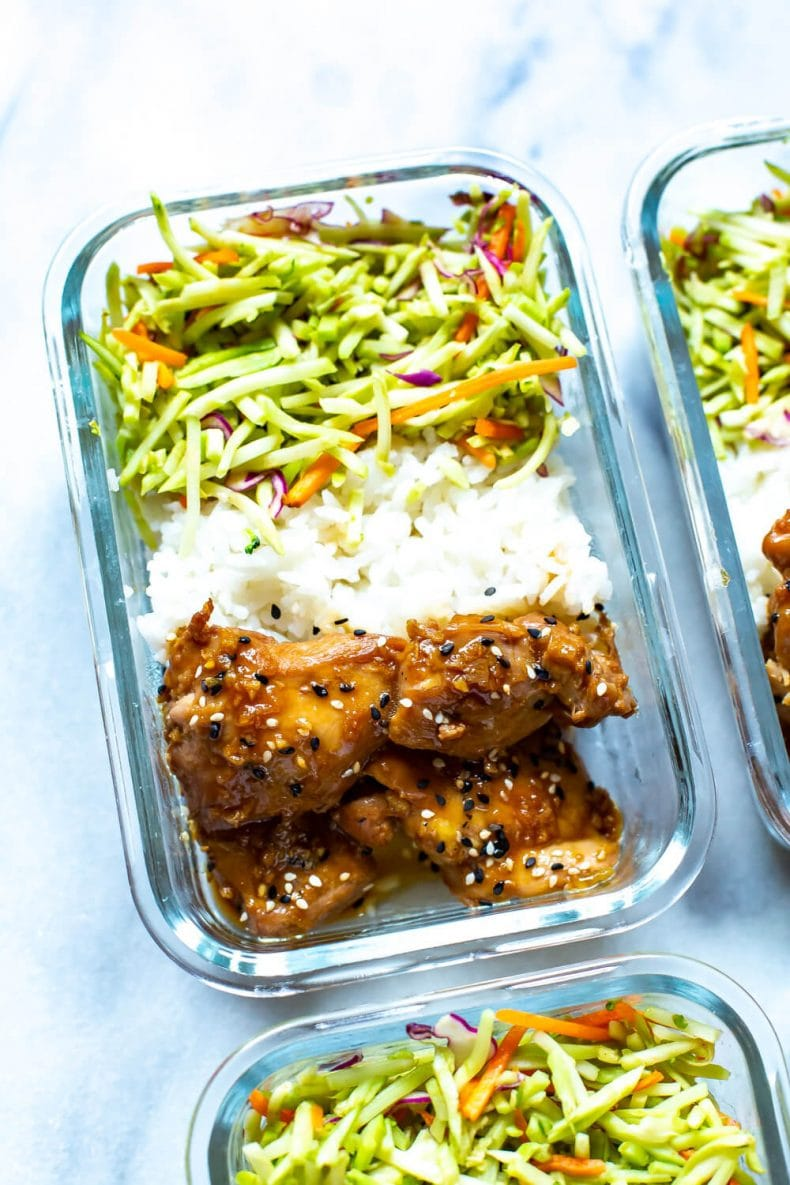 healthy sesame chicken thighs meal prep dinner