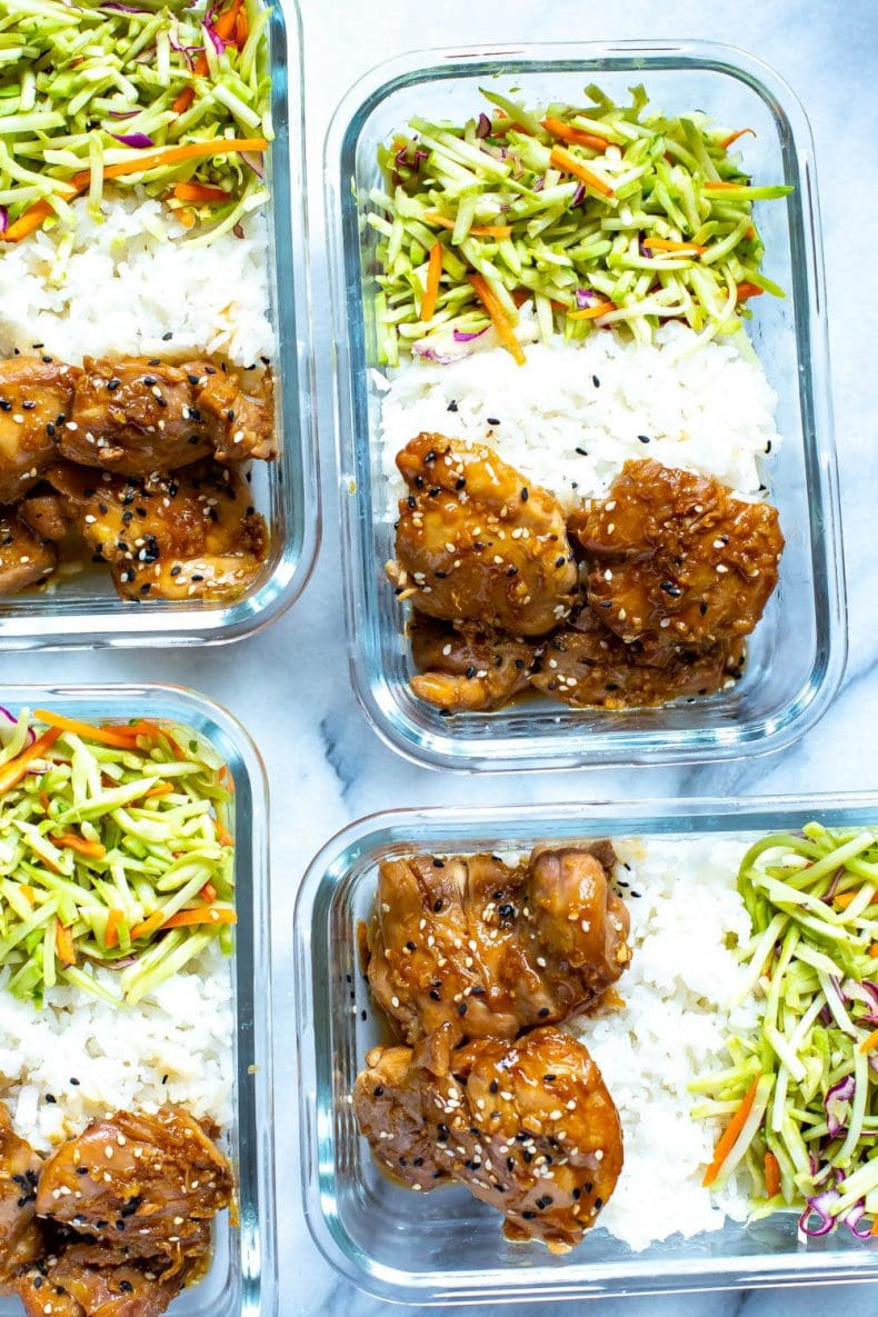 Garlic and Sesame Instant Pot Chicken Thighs dinner in meal prep containers