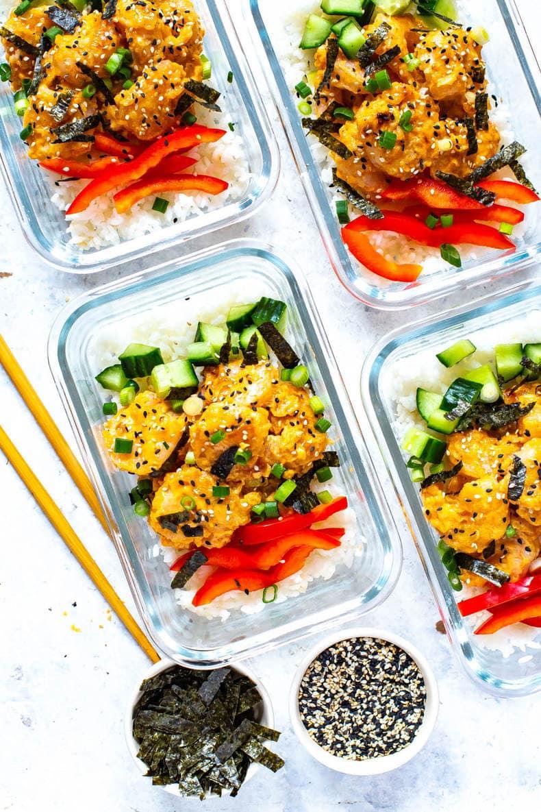 Meal Prep Dynamite Shrimp Sushi Bowls