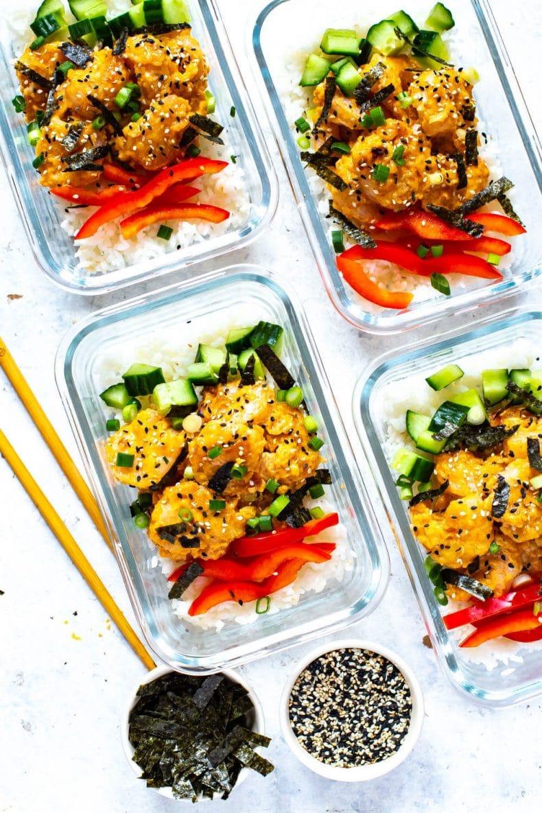 copycat PF Chang's Dynamite Shrimp Sushi Bowl