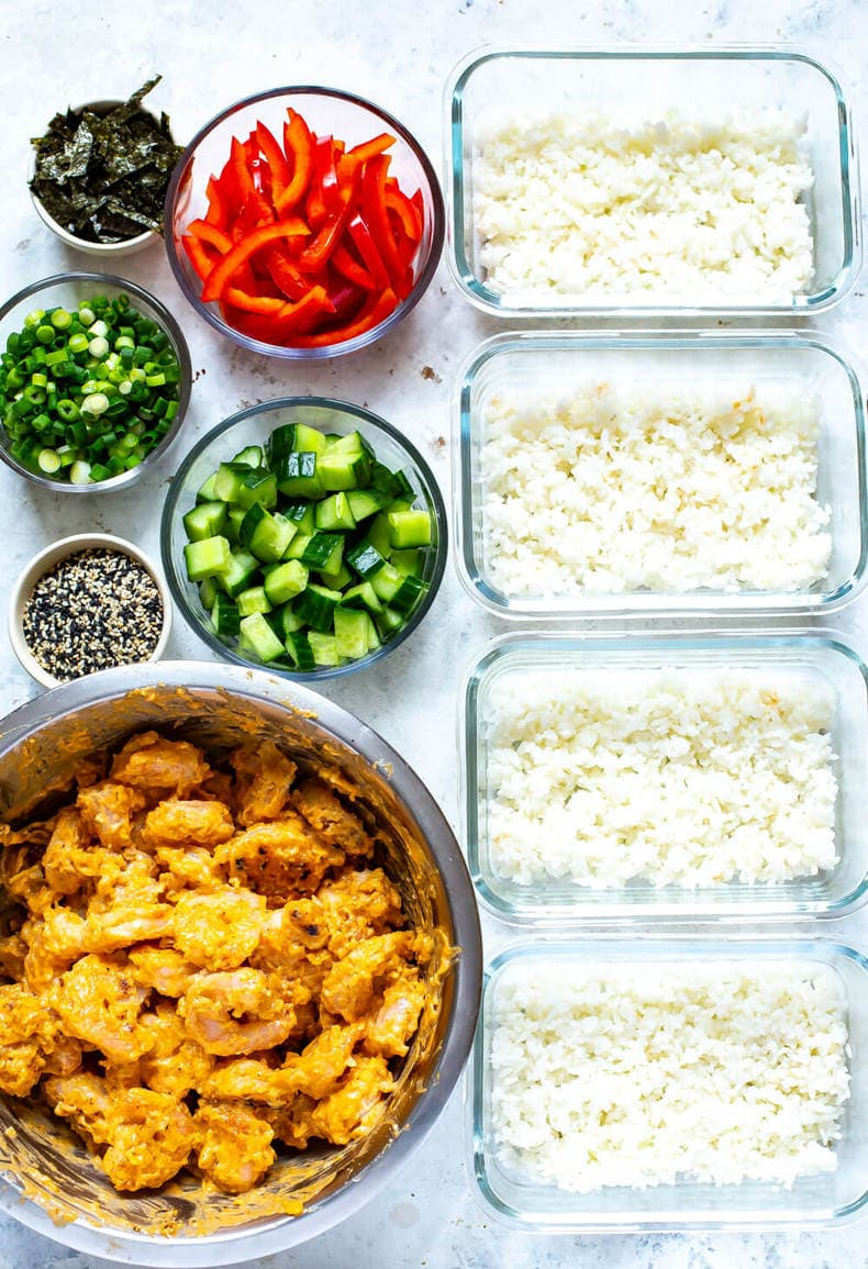 ingredients needed to make spicy Asian shrimp sushi bowls