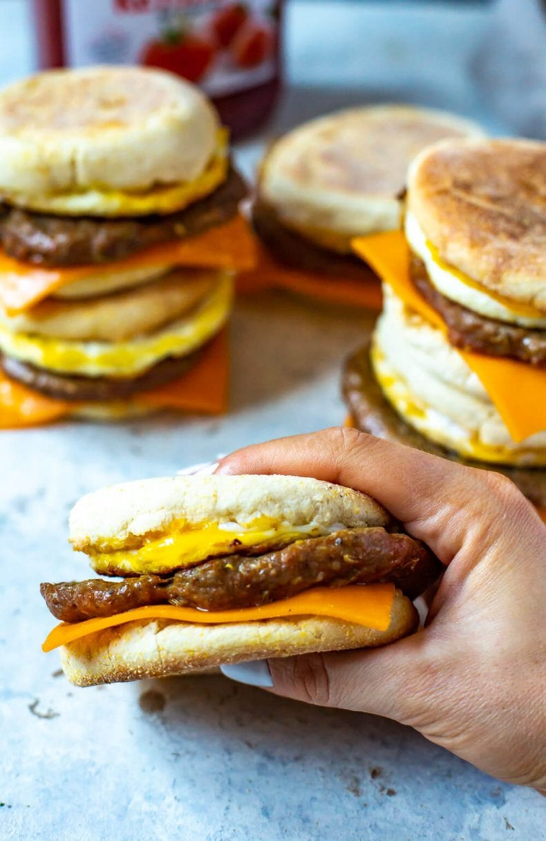 Meal Prep Egg and Sausage McMuffin sandwich