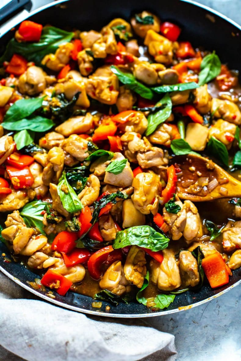 large skillet pan of Meal Prep Thai Basil Chicken