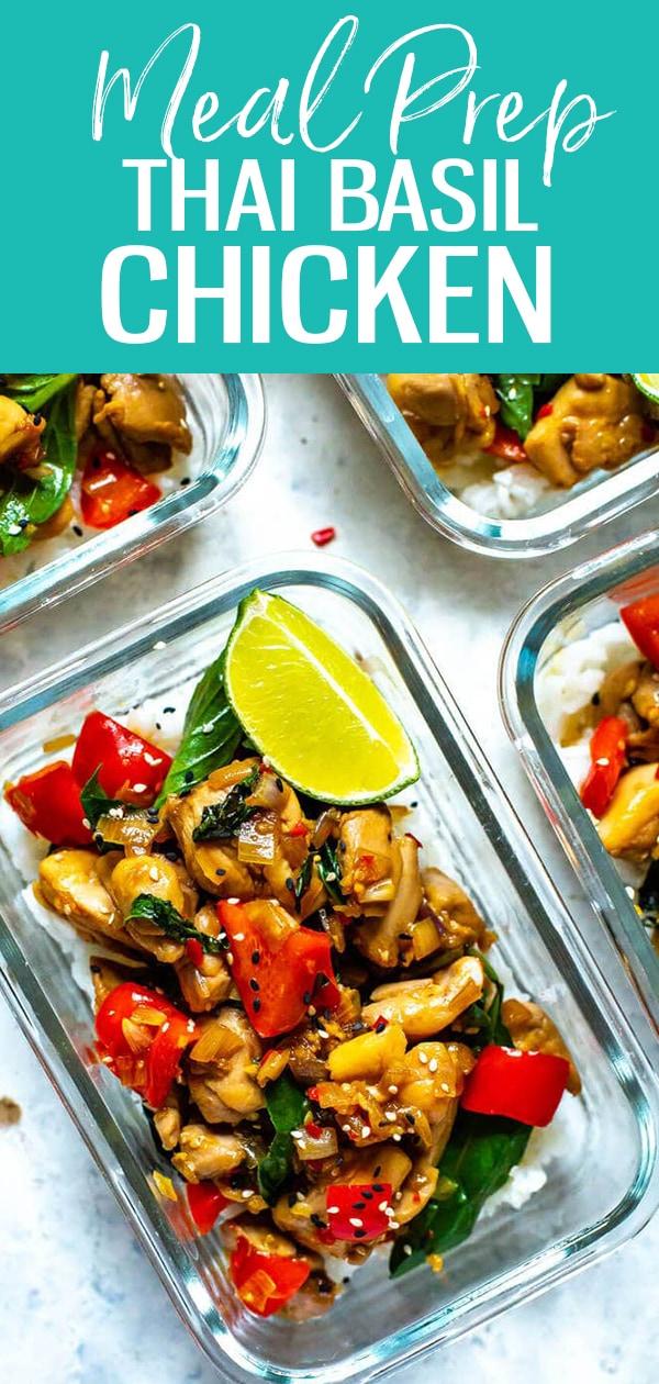 ThisMeal Prep Thai Basil Chicken is a healthy stir fry idea that doubles as an easy 30-minute dinner or make-ahead lunch! #thaibasilchicken #mealprep