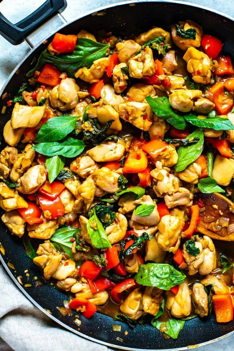 Meal Prep Thai Basil Chicken in a skillet pan