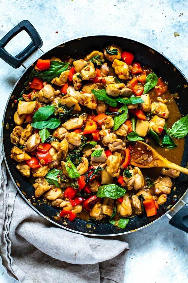meal prep skillet dinner of Thai Basil Chicken