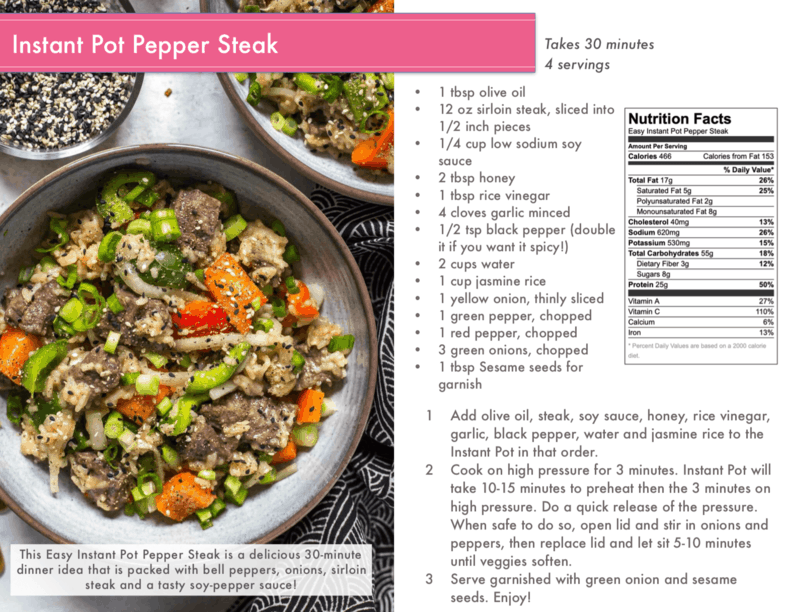 instant pot pepper steak cover