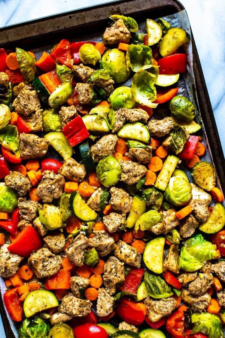 balsamic chicken with vegetables on a sheet pan
