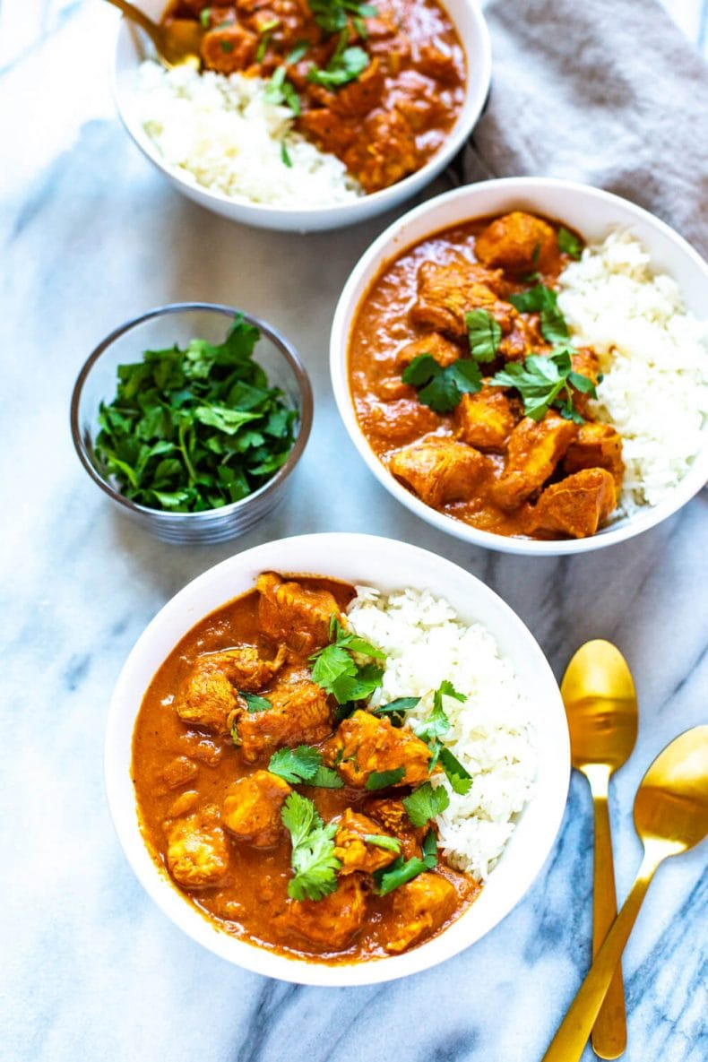 3 bowls of crockpot tikka masala with chicken