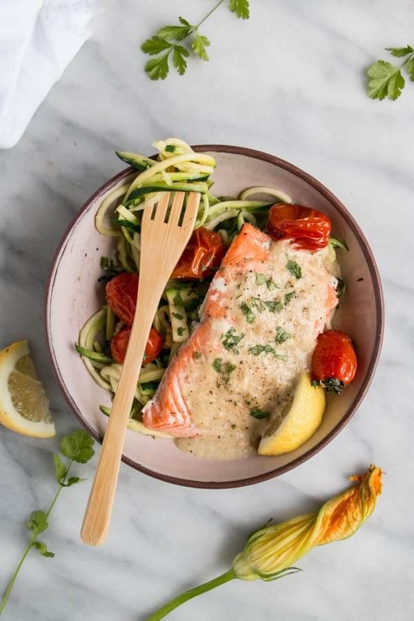 Tahini salmon zucchini noodle bowl