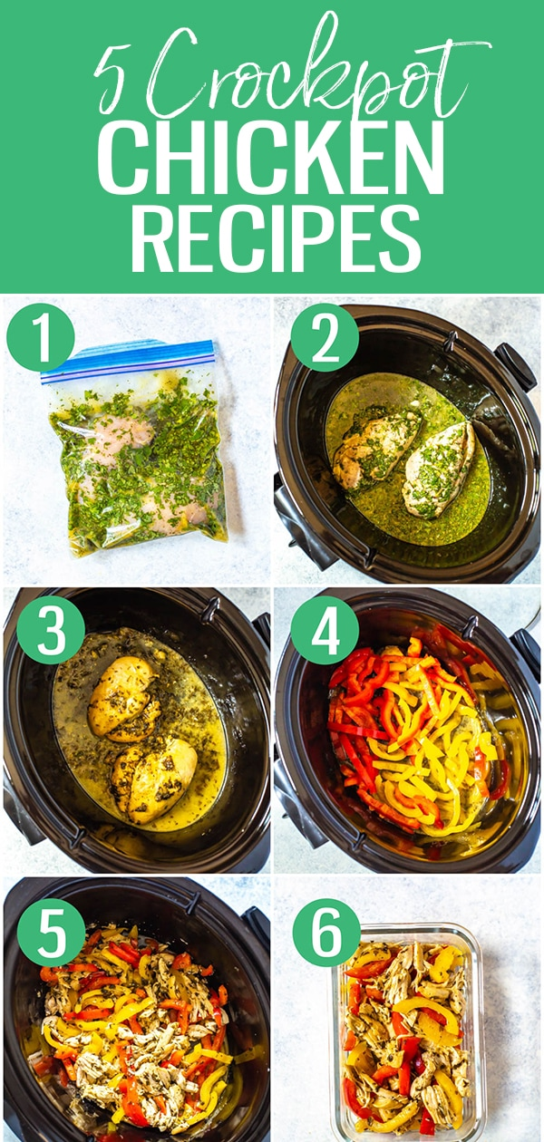 These healthy crockpot chicken recipes will inspire you to create meal prep with your slow cooker - most sauces only contain 5 ingredients and are dump-and-go #crockpot #chickenrecipes #slowcooker