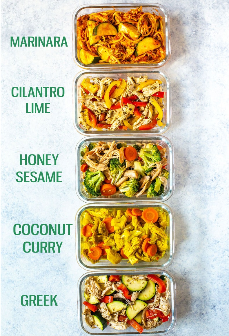 5 different Healthy Crockpot Chicken Recipes in meal prep containers