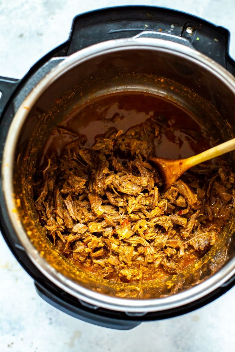 Barbacoa Beef cooking in an Instant Pot
