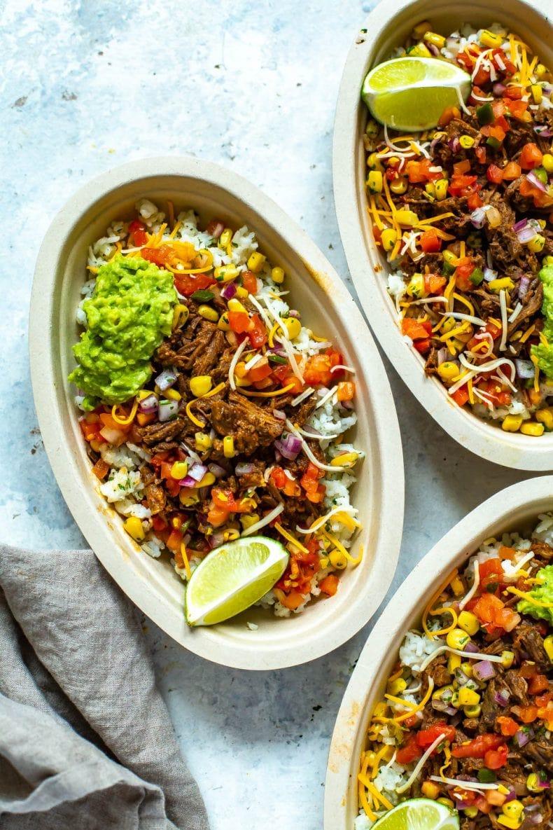 Instant Pot Barbacoa Beef Burrito Bowls