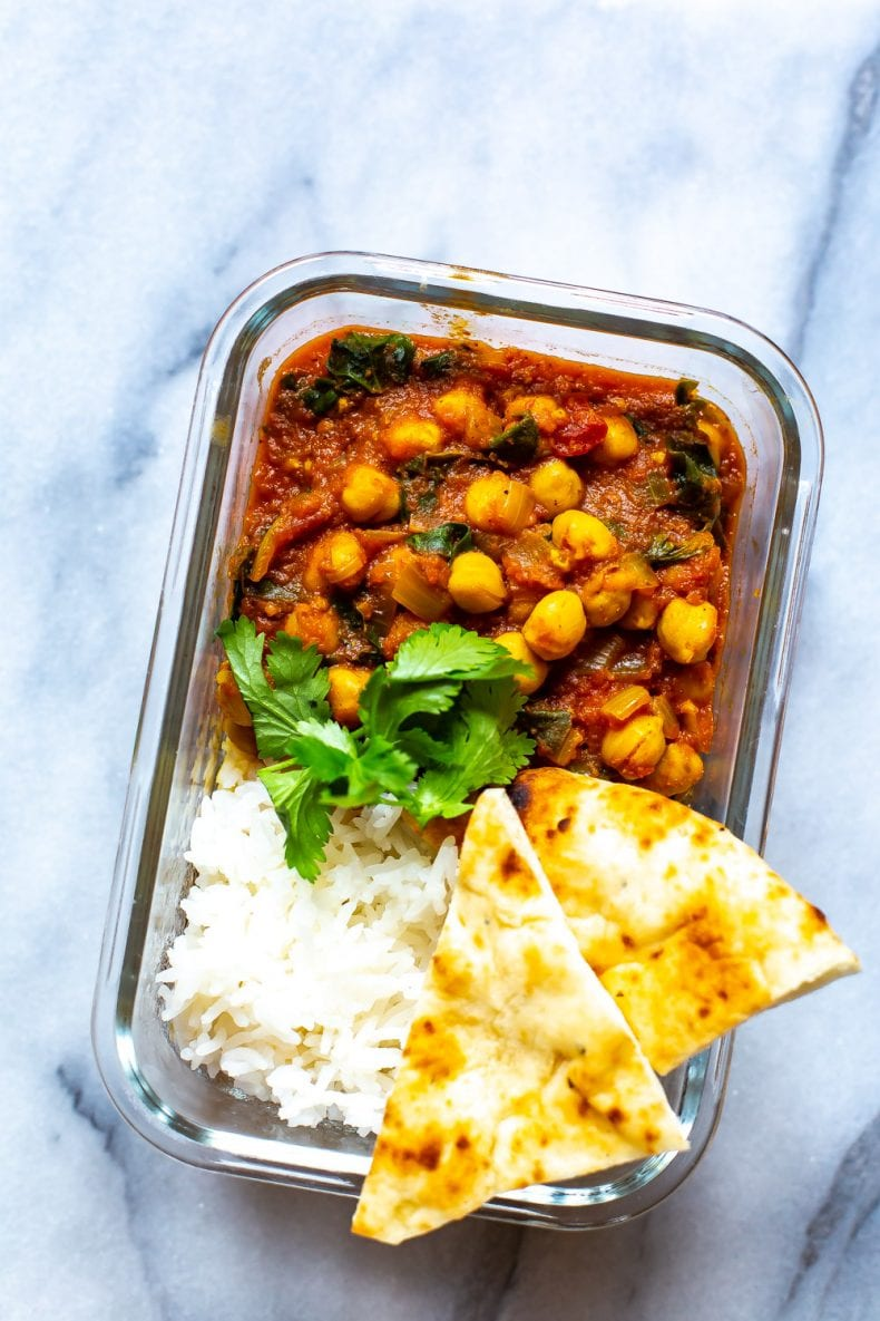 This Instant Pot Chana Masala is a delicious Indian-spiced chickpea curry made with just a few simple ingredients from your pantry - it's gluten-free and vegan too! #instantpot #indianfood #chanamasala #vegan