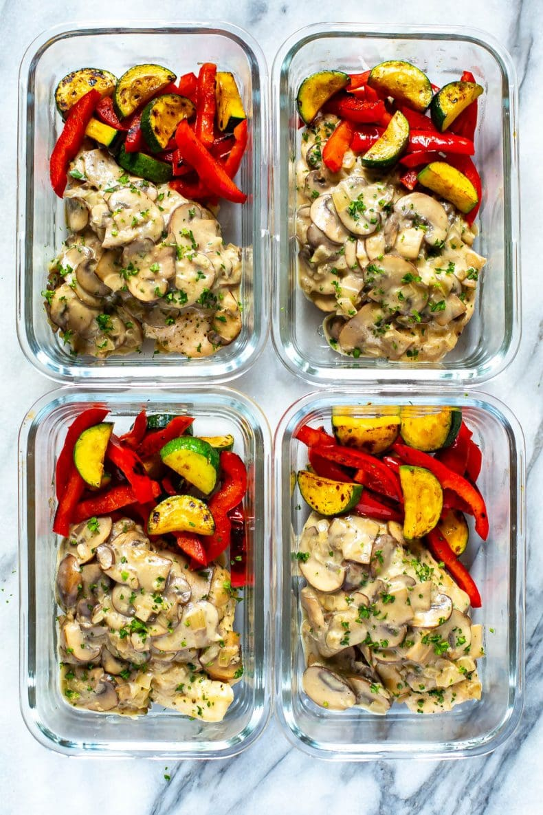 chicken marsala in meal prep containers