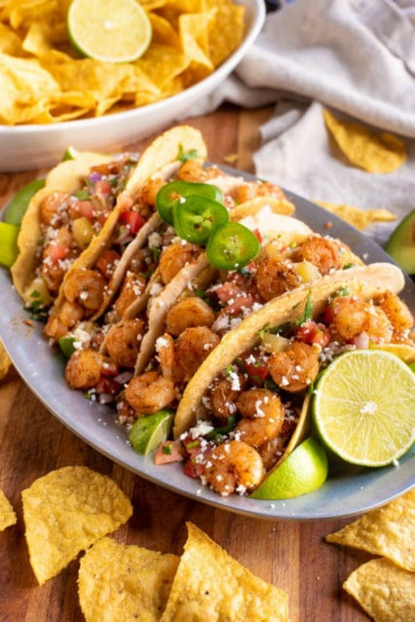 Jerk shrimp tacos with pineapple salsa