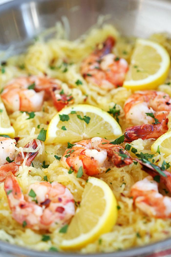 lemon herb spaghetti squash with roasted shrimp