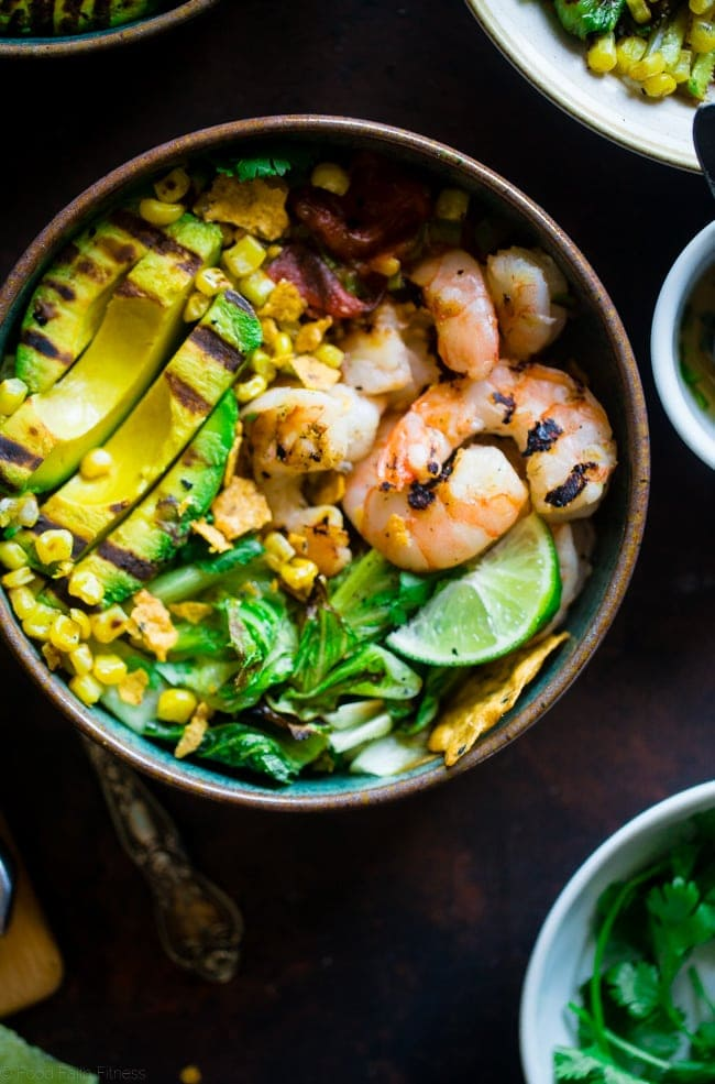 Grilled Avocado Shrimp Nacho Bowls